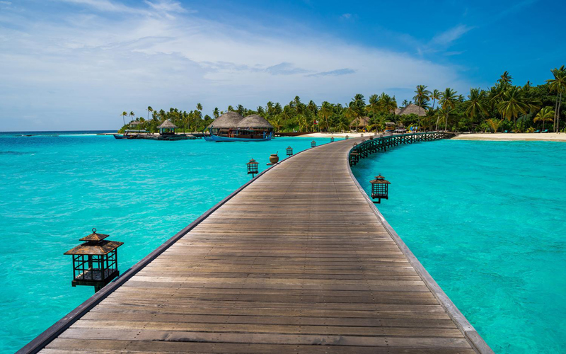 Maldives, Мальдивы, океан, пальмы, Мост